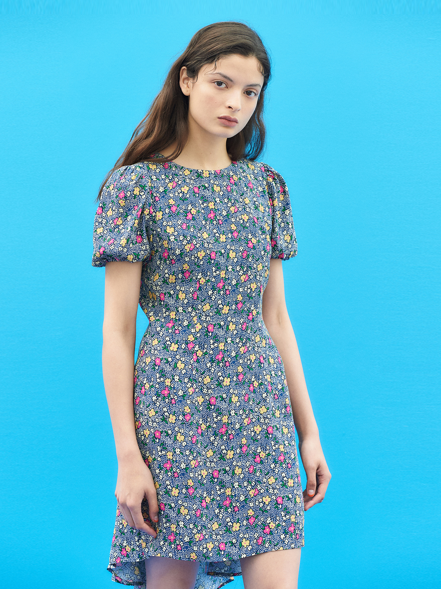 [SUMMER BIG SALE]Floral Back Flare Dress in Blue