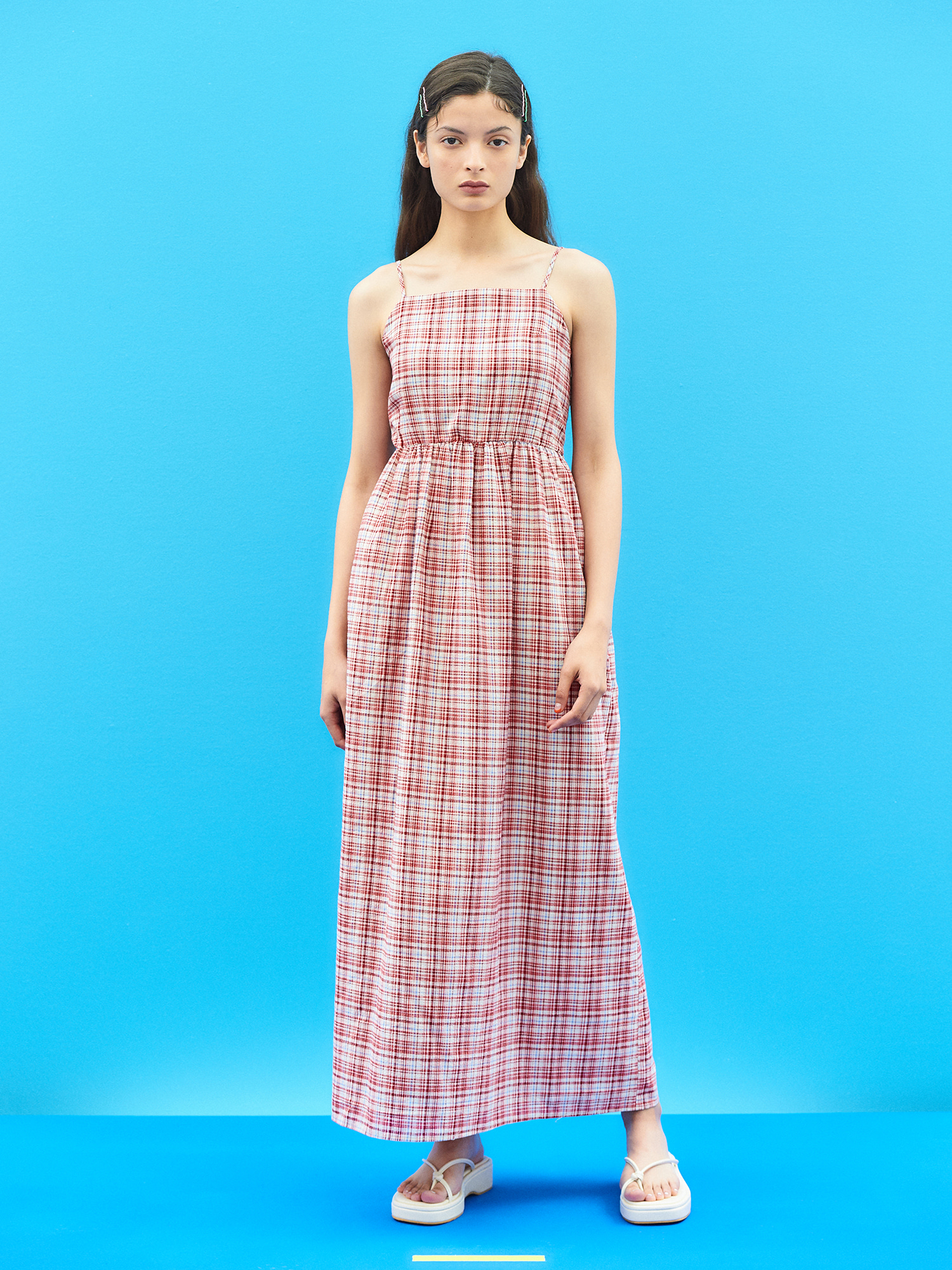 Linen Check Maxi Dress in Red