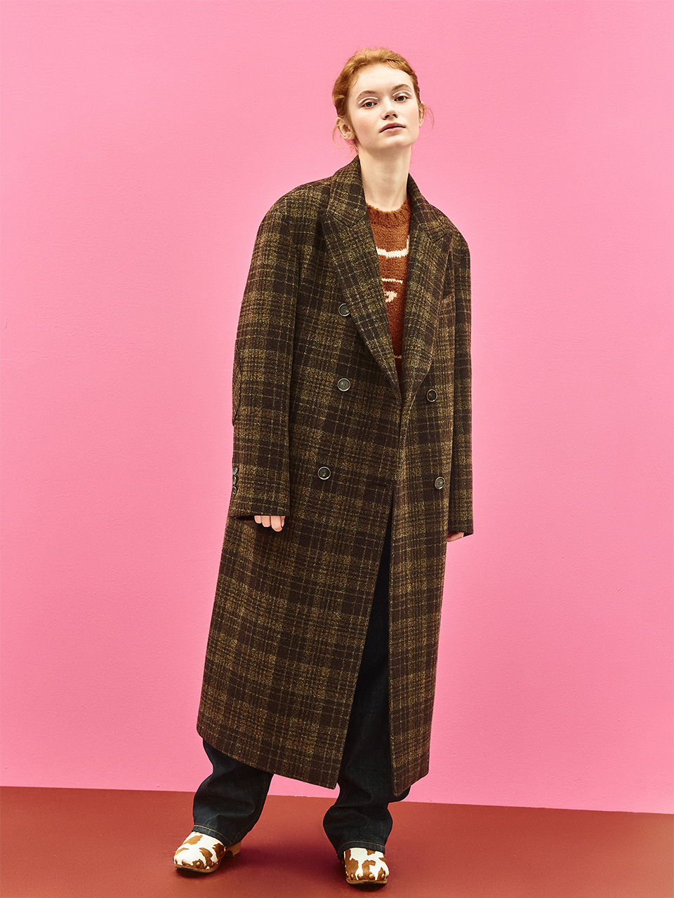 Check Wool Double Maxi Coat