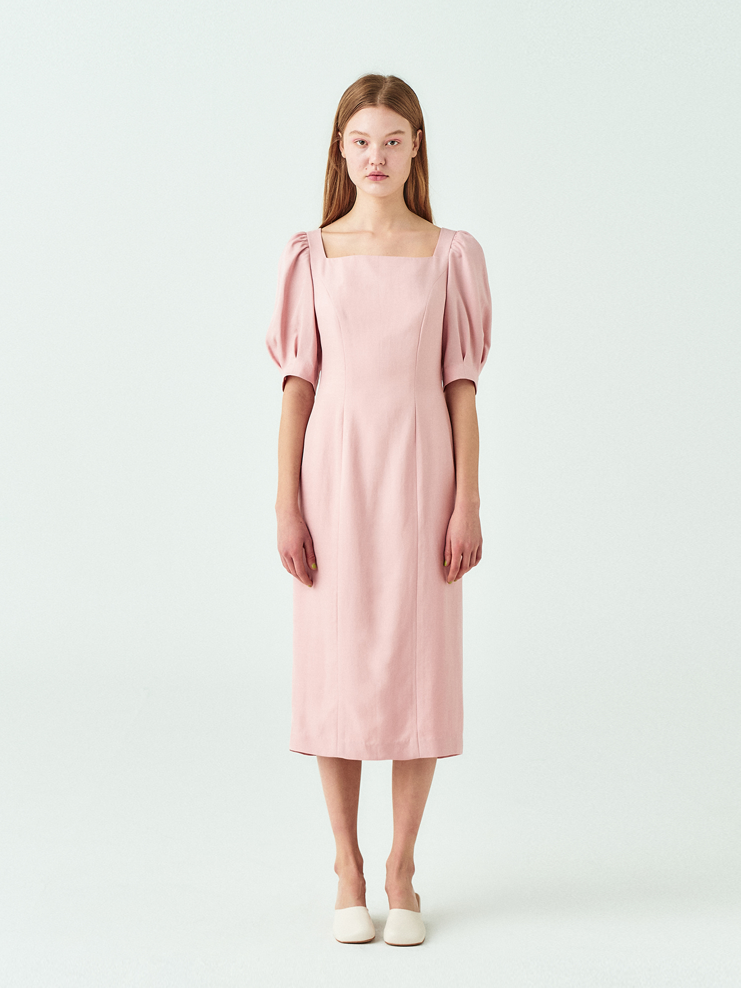 Square Neck Line Dress in Pink