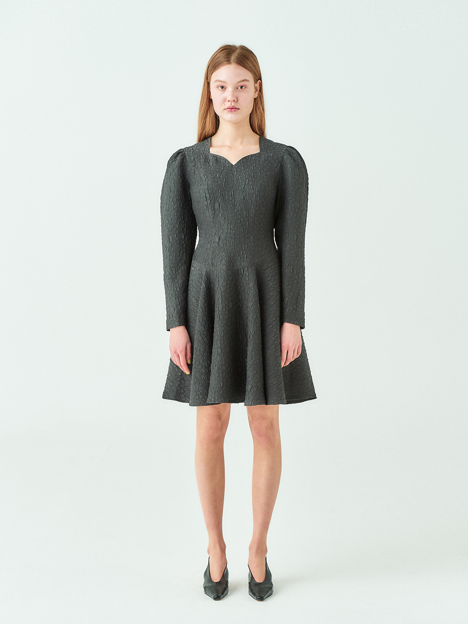 [시즌오프30%SALE] Jacquard Flare Dress in Balck