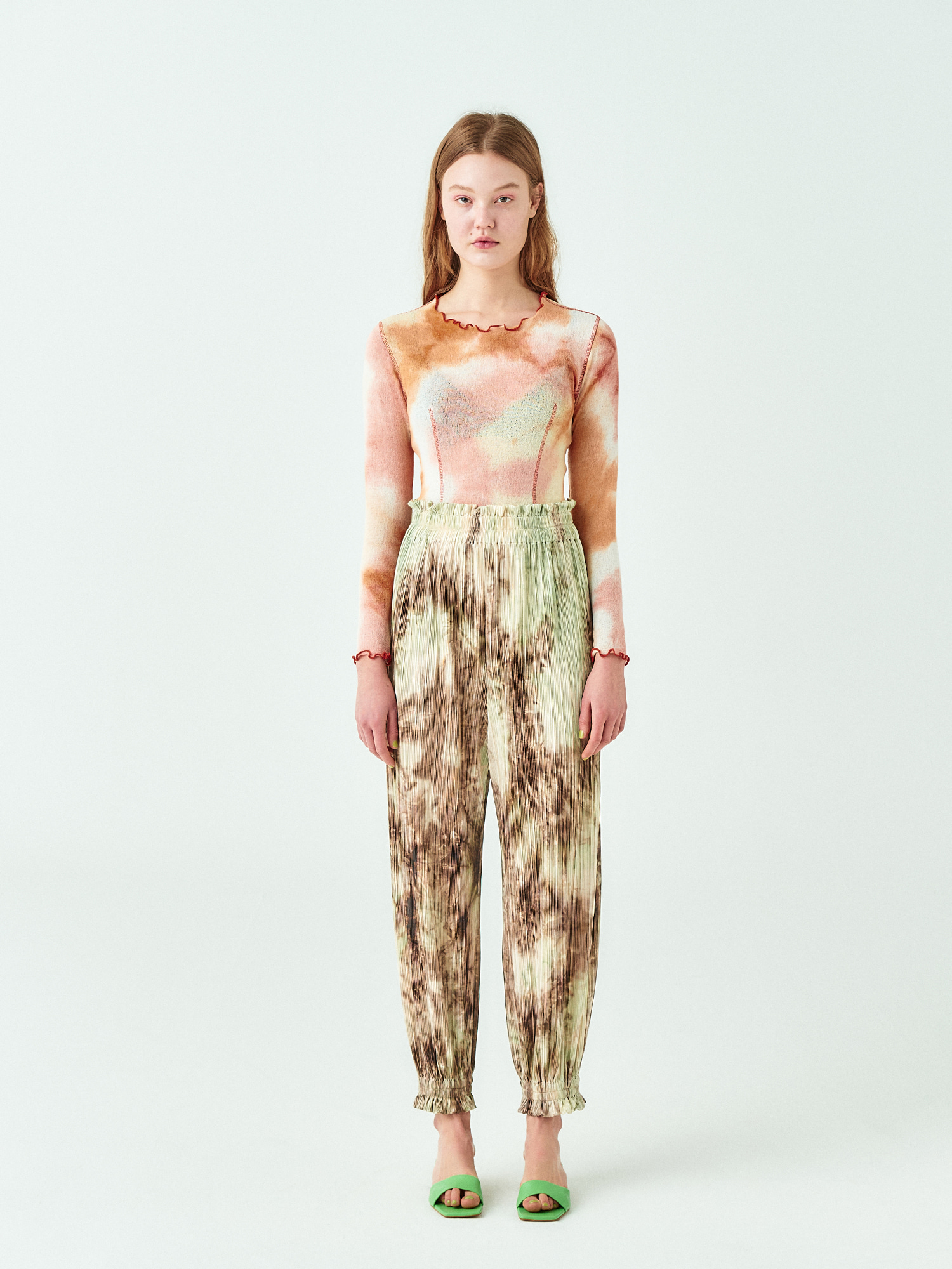 [시즌오프30%SALE] Frill Banding Pants in Tie Dye