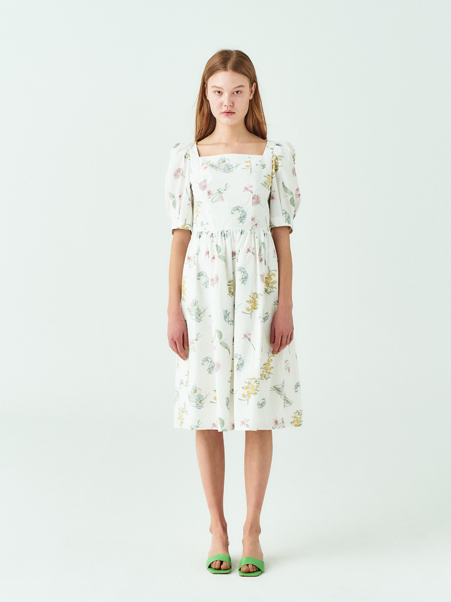 [시즌오프15%SALE] Flower Cotton Dress