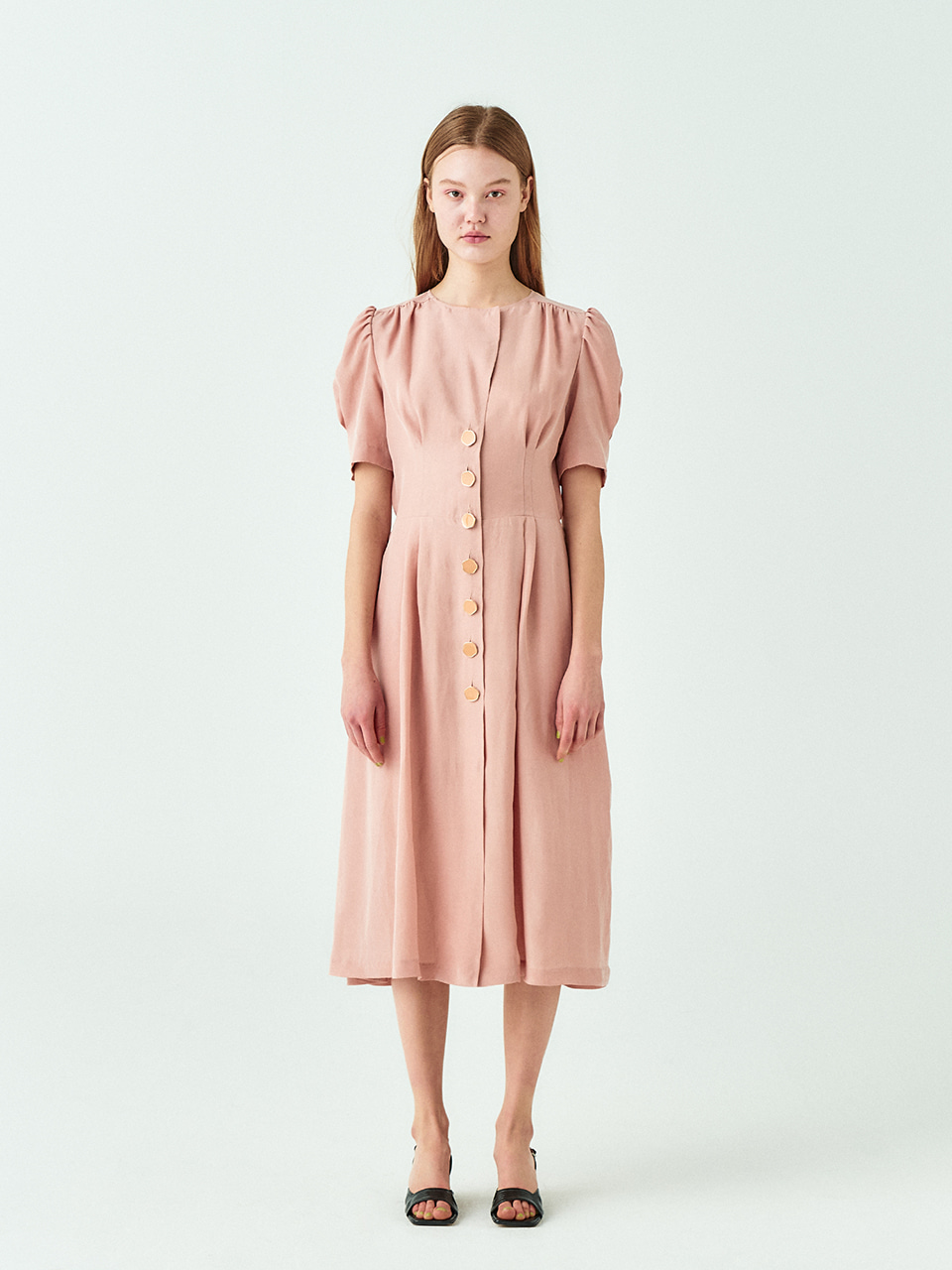 [시즌오프20%SALE] Cupra Button Dress in Peach