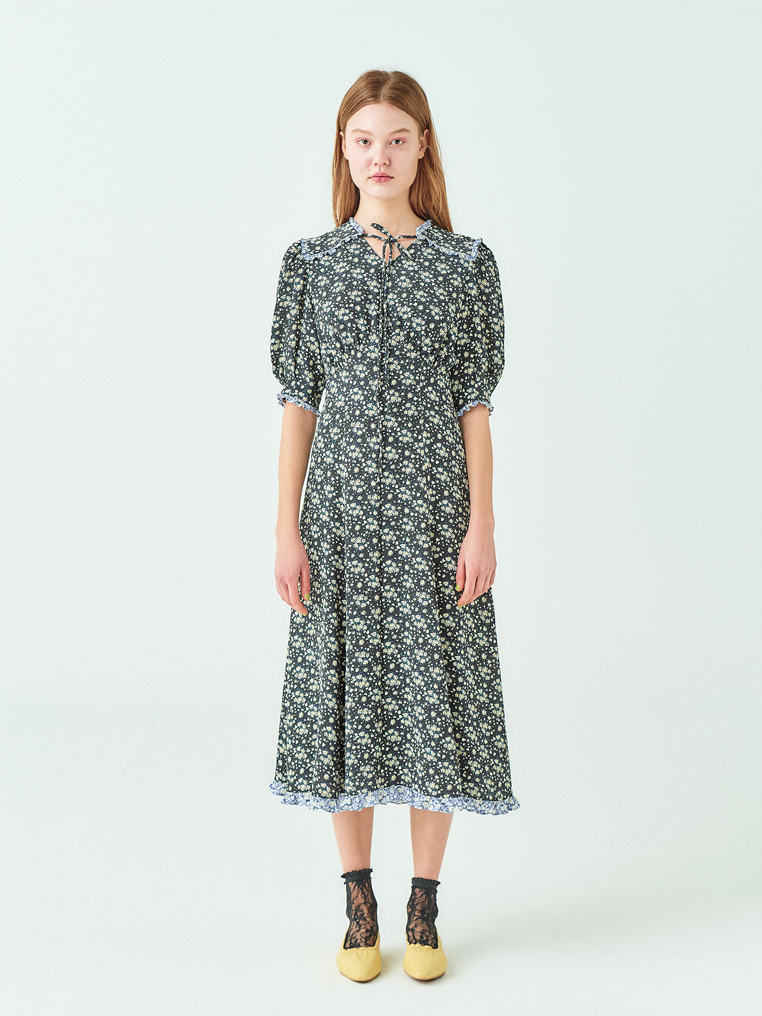 [시즌오프20%SALE] Daisy Frill Midi Dress
