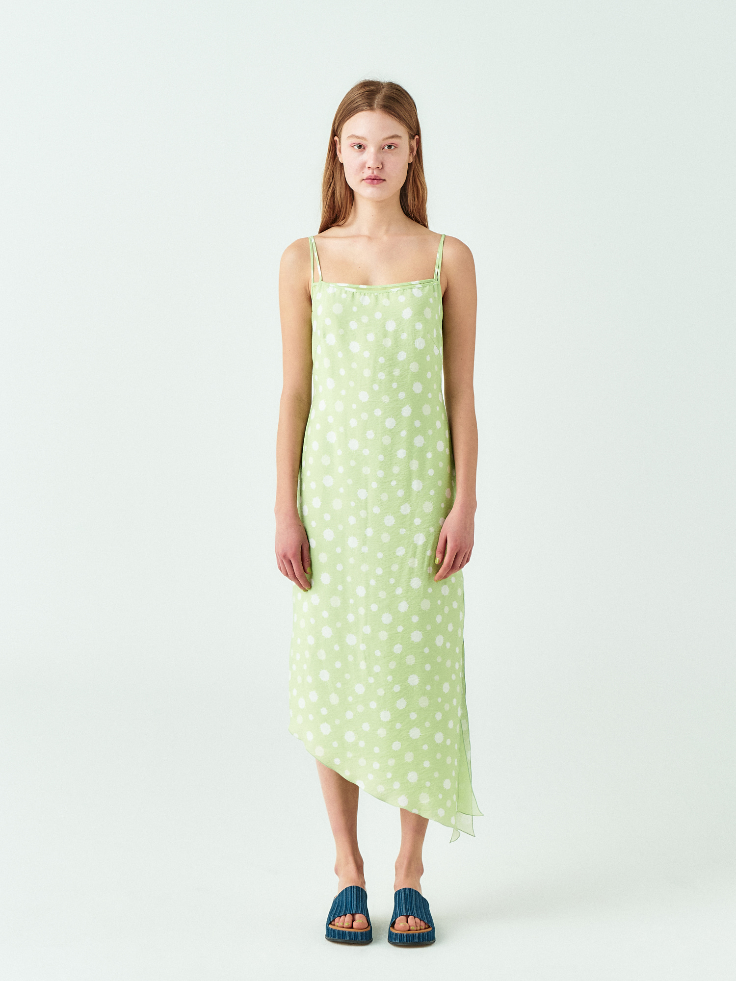 [시즌오프20%SALE] Water Drop Slip Dress In Yellow Green
